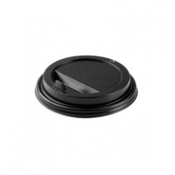 """крышка для стакана """"интерпластик-2001"""" 400мл и 300мл пластик черный с носиком d90мм (10*100шт)/1000"""