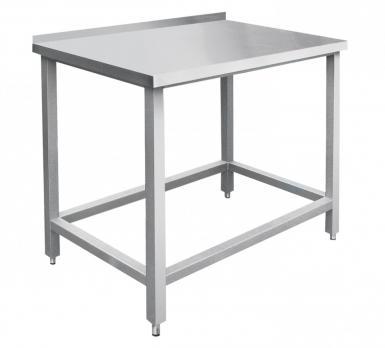 стол пристенный с бортом abat спрп-7-3 (столешница нерж, каркас-краш.) без полки